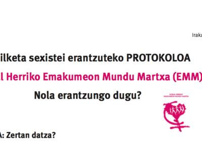 EUSKAL HERRIKO EMAKUMEON MARTXA. Protocolo ante agresiones sexistas